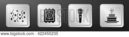 Set Festive Confetti, Lsd Acid Mark, Karaoke Microphone And Cake With Burning Candles Icon. Silver S