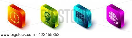 Set Isometric Clock, Location And Mail And E-mail, Envelope And Earth Globe With Mail Icon. Vector