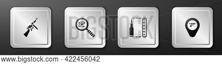 Set Tommy Gun, Pistol Or Search, Bullet And Location With Weapon Icon. Silver Square Button. Vector