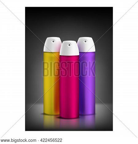 Hairspray Cosmetic Creative Promo Banner Vector. Hairspray Blank Packages Sprayer On Advertising Pos