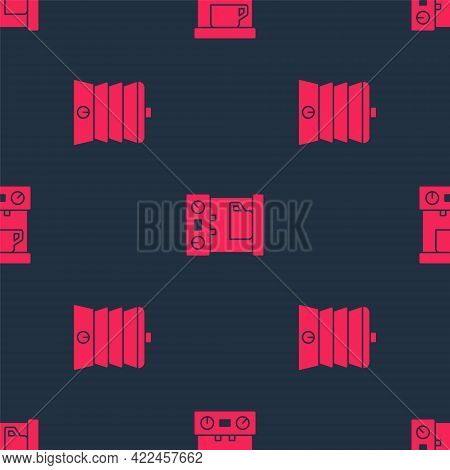 Set Slow Cooker And Coffee Machine On Seamless Pattern. Vector
