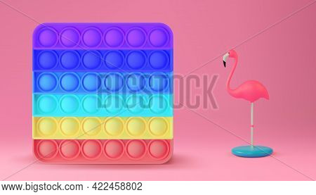 New Popular Sensory Anti-stress Toy - Pop It. Realistic Vector 3d Illustration