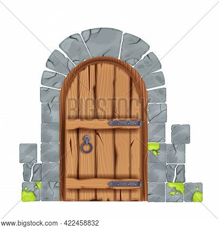 Old Vector Castle Door, Wooden Vintage House Entrance, Cracked Stone Wall Arch Tiles, Medieval Porta
