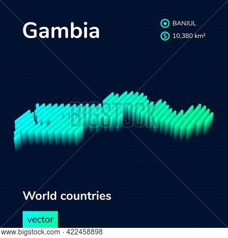 Stylized Striped Vector Isometric 3d Map Of Gambia. Map Of Gambia Is In Neon Green And Mint Colors O