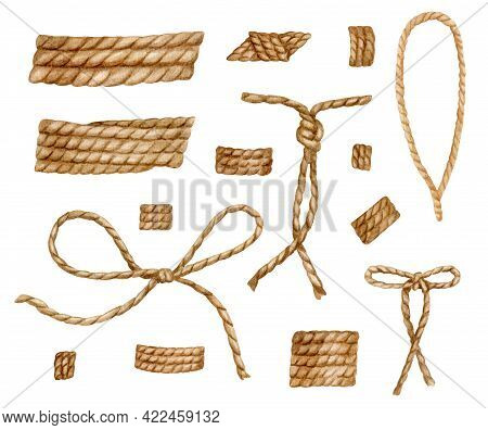 Watercolor Rope Set. Hand Drawn Jute Cord Woth Knots Illustration. Set Of Natural Burlap Rope Tied I
