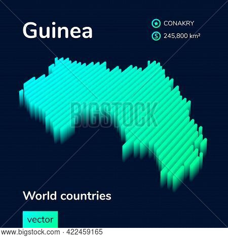 Stylized Striped Vector Isometric 3d  Map Of Guinea With 3d Effect. Map Of Guinea Is In  Neon Green