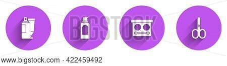 Set Cream Or Lotion Cosmetic Tube, Spray Can For Hairspray, Eye Shadow Palette And Scissors Icon Wit
