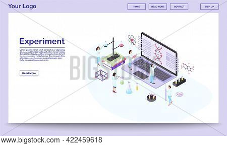 Genetic Engineering Isometric Website Template. Scientists Analyzing Dna Spiral On Laptop Screen. Bi