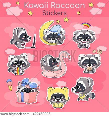 Cute Raccoon Kawaii Cartoon Vector Characters Set. Adorable And Funny Smiling Animal Isolated Sticke