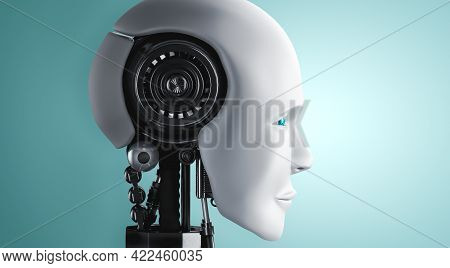 Robot Humanoid Face And Eyes Close Up View 3d Rendering. Ai Thinking Brain, Artificial Intelligence