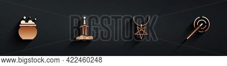 Set Witch Cauldron, Sword In The Stone, Pentagram Necklace And Magic Wand Icon With Long Shadow. Vec