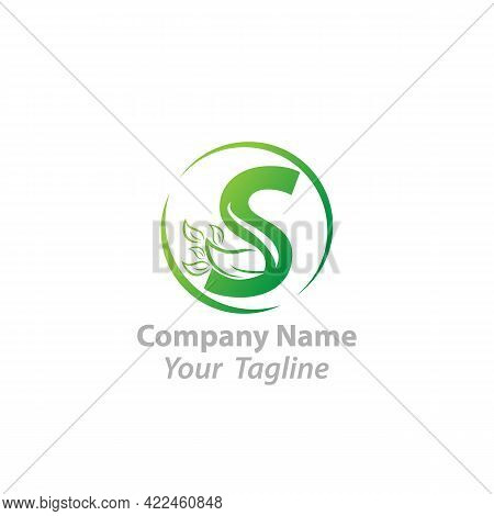 Initial Letter S With Leaf Luxury Logo. Green Leaf Logo Template Vector Design.eps 10