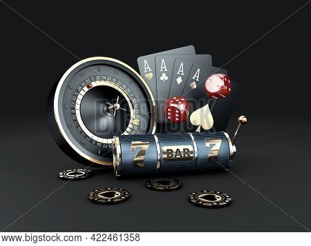 3d Rendering Of Slot Machine With Chips, Roulette And Play Cards, Clipping Path Included