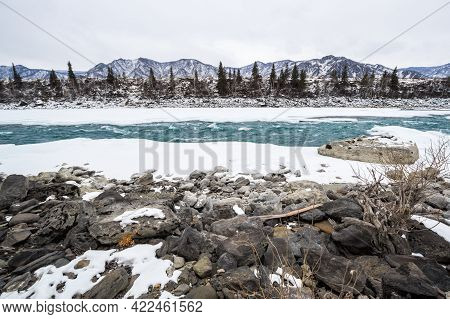 View Of River Katun And Altay Mountains In The Winter, Siberia, Russia