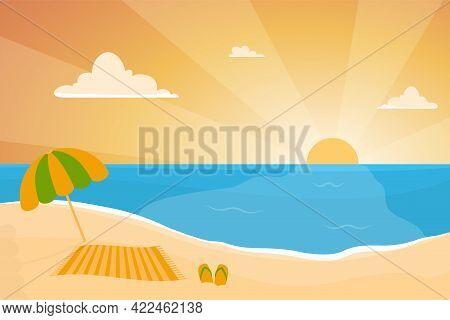 Summer Background - Sunset Beach. Sea And Sunset, On The Beach An Umbrella, Sun Lounger And Flip-flo