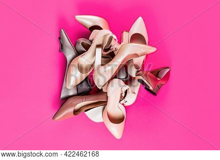 Fashionable Women Shoes Isolated On Pink Background. View From Above. Shoe For Women