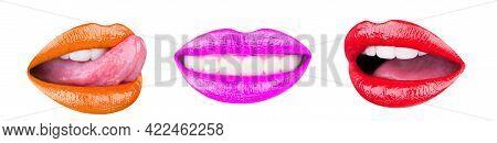 Set Of Womens Lips With Glossy Lipsticks. Multicolored Lip, Tongue Sexy. Colored Lip, Lipstick Or Li