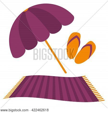 Vector Set Of Items For A Beach Holiday. Summer Objects: Flip Flops, Sunbed And Beach Umbrella In Fl
