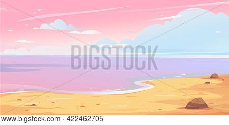 Realistic Beautiful Landscape Depicting A Pink Sunset Sky With Clouds, Sea And Sandy Shore. Long Ban
