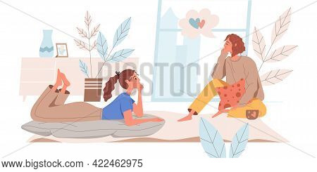 Dreaming People Web Concept In Flat Style. Women Sit At Cozy Room, Dreaming, Thinking Desires. Inspi