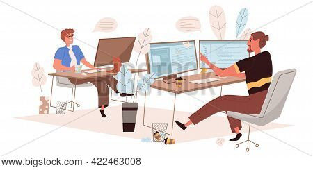 Programmers Working Web Concept In Flat Style. Developers Coding Code, Develop Software, Work Togeth