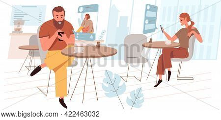 Browse Social Network Web Concept In Flat Style. Man And Woman Surfing Internet, Chatting Online, Us