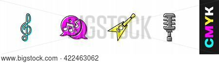 Set Treble Clef, Music Note, Tone, Electric Bass Guitar And Microphone Icon. Vector