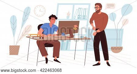 Deadline Web Concept In Flat Style. Busy Employee Working At Laptop. Angry Manager Points To Clock.