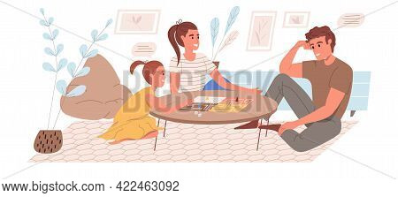 Family Activity Web Concept In Flat Style. Mom, Dad And Daughter Play Board Game, Spend Time Togethe
