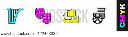 Set Harp, Comedy And Tragedy Masks, Greek Trireme And Ancient Chariot Icon. Vector