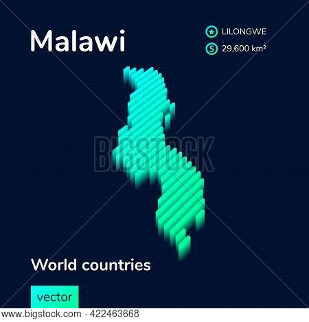 Stylized Striped Vector Isometric Map Of Malawi With 3d Effect. Map Of Malawi  Is In Neon Green And