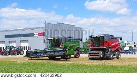Kyiv, Ukraine - May 30, 2021: The Massey Ferguson 7347 S Combine Harvester