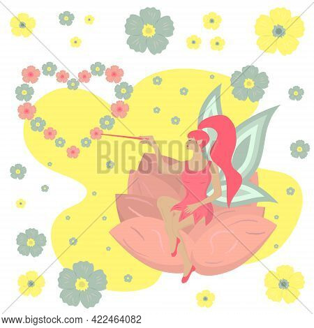 Flower Fairy Sitting On The Flower.  Beautiful Cute Fairy With Pink Hair Holding A Magic Wand. Beaut