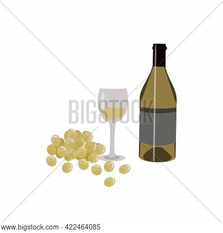 A Bottle Of White Wine Glass Grapes Production Of Wine Or Winemaking Or Vinification; Wine Making Pr