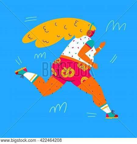 Running Girl. Fat Young Woman In Bright Shorts With Pretzels And Headphones Running. Person Runner R