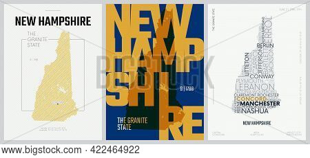 9 Of 50 Sets, Us State Posters With Name And Information In 3 Design Styles, Detailed Vector Art Pri