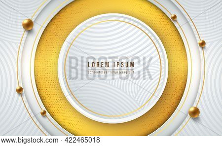 White Paper Cut, Gold Line With Circle Patterns And Gold Spheres. Abstract Gold Background Textured