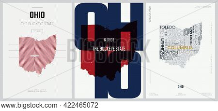 17 Of 50 Sets, Us State Posters With Name And Information In 3 Design Styles, Detailed Vector Art Pr