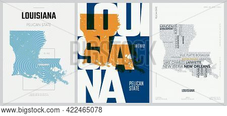 18 Of 50 Sets, Us State Posters With Name And Information In 3 Design Styles, Detailed Vector Art Pr