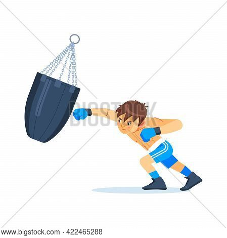 Teenager Boy Or Young Boxer Dressed In Sportswear Training With Punching Bag Isolated On White Backg