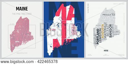 23 Of 50 Sets, Us State Posters With Name And Information In 3 Design Styles, Detailed Vector Art Pr