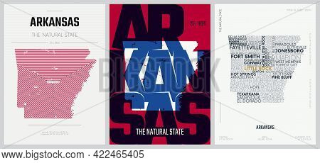 25 Of 50 Sets, Us State Posters With Name And Information In 3 Design Styles, Detailed Vector Art Pr