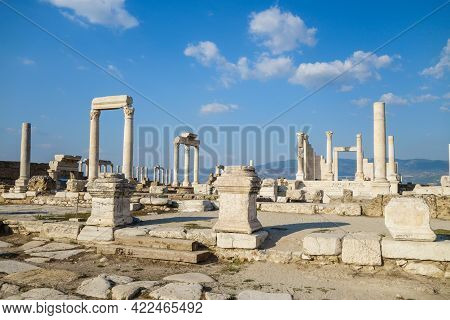 Panorama Of Laodicea, Ancient City Near Denizli, Turkey. There Are Ruins Of Antique Temple With Pill