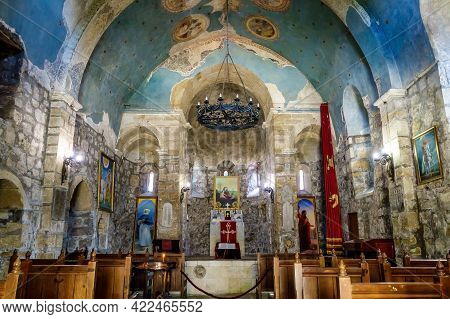 Interior Of Armenian Church Surb Sarkis. There Are Altar, Balustrade, Icons, Seating For Parishioner