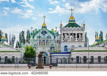 Facade Of The Church Of St. Catherine In Feodosia, Crimea. It Was Built In The 19th Century With Gra