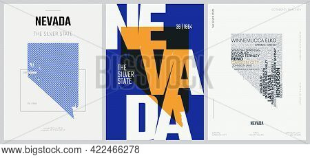 36 Of 50 Sets, Us State Posters With Name And Information In 3 Design Styles, Detailed Vector Art Pr