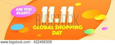11.11 Shopping Day Concept Carnival Sale Poster, Banner, Flyer Design. Shopping Day Sale Poster Flye