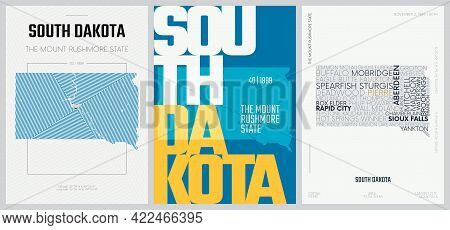 40 Of 50 Sets, Us State Posters With Name And Information In 3 Design Styles, Detailed Vector Art Pr