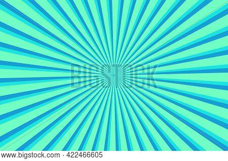 Vibrant Cyan Sunburst Pattern Background. Ray Star Burst Backdrop. Rays Radial Geometric Vector Illu