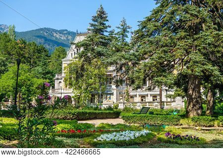 Massandra Palace As It Looks From Side Of Its Park. Except Building Itself There Are Lots Of Trees &